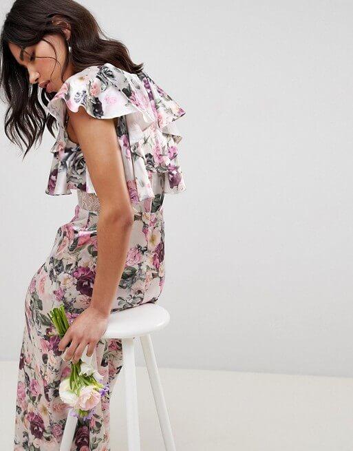 ASOS DESIGN Bridesmaid lace insert ruffle maxi dress in pretty floral print Pink Purple
