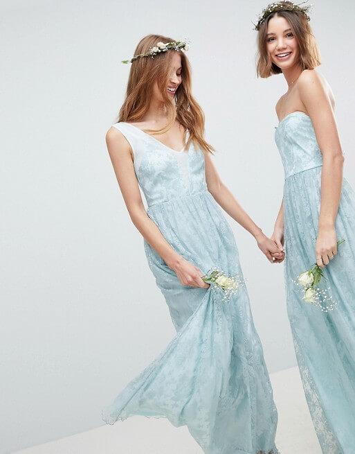 24d5350252be7 ASOS DESIGN Design Bridesmaid Delicate Lace Sheer Insert Maxi Dress Pale  Blue. ASOS DESIGN Design Bridesmaid Delicate Lace Sheer Insert Maxi Dress  Pale Blue