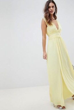 ASOS DESIGN premium lace insert pleated maxi dress Yellow