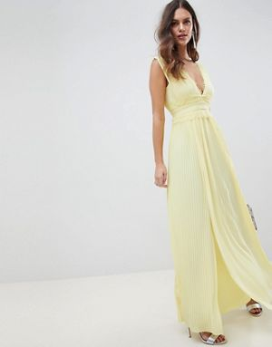 ASOS DESIGN premium lace insert pleated maxi dress Yellow