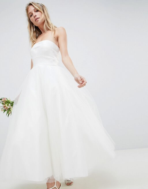 ASOS EDITION Bandeau Prom Midi Wedding Dress, Ivory | myonewedding.co.uk