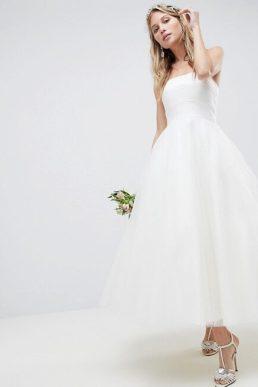 ASOS EDITION Bandeau Prom Midi Wedding Dress Ivory