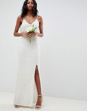 6dbaef458aa ASOS EDITION Floral Embellished Lace Wedding Dress Ivory