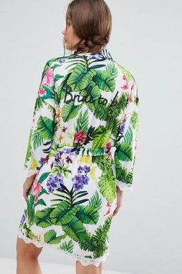 Boohoo Bride To Be Robe Green Multi