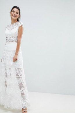 Bronx and Banco Lace Panel Maxi Dress White