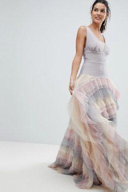 Bronx and Banco Rainbow Tulle Maxi Dress Lilac Multi
