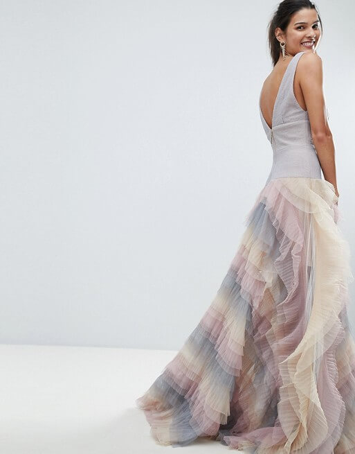 Bronx and Banco Rainbow Tulle Maxi Dress Lilac Multi