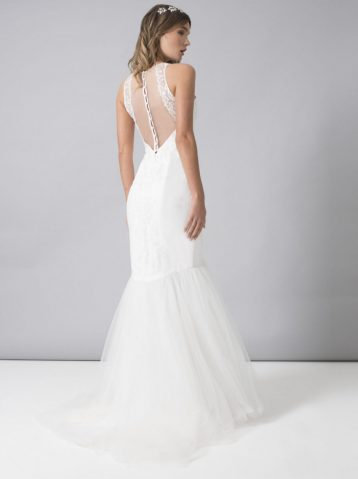 Chi Chi Emma Sheer Back Textured Wedding Dress White