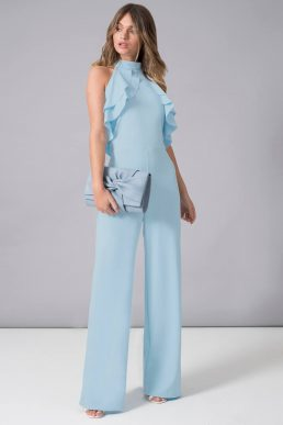 Chi Chi Felicitie Frill Jumpsuit Blue
