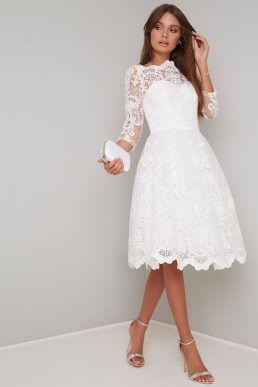 Chi Chi Flora Lace Sleeve Wedding Dress, White