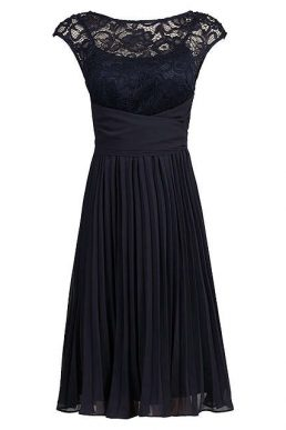 Jolie Moi Lace Bodice Pleated Short Bridesmaid Dress Navy Blue