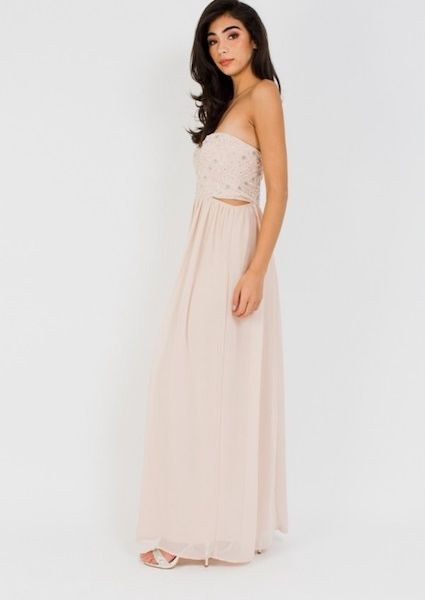 cdb18a5ddcc5 Lace & Beads Venus Nude Strapless Maxi, Pink/Blush | myonewedding.co.uk