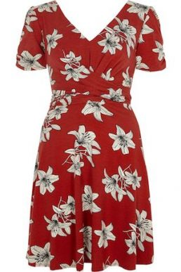 River Island Floral Twist Front Skater Dress Red White