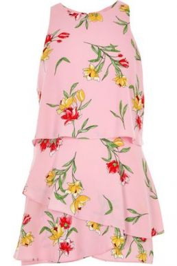 River Island Floral Tiered Frill Sleeveless Playsuit Pink Multi