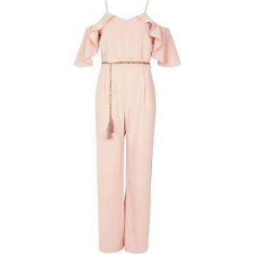 River Island Light Cold Shoulder Belted Jumpsuit Pale Pink Blush