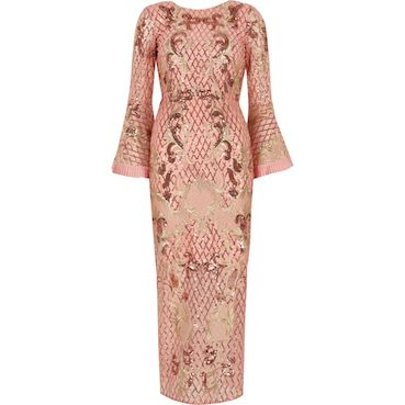 River Island Petite Pink Sequin Embellished Maxi Dress Pink Blush
