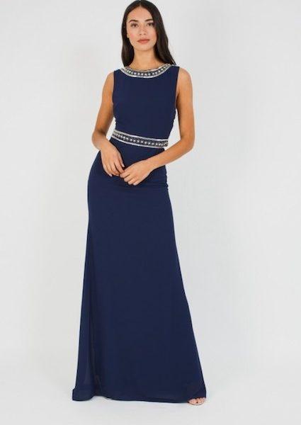 affordable price bright n colour quality TFNC Akira Navy Maxi Dress, Navy Blue