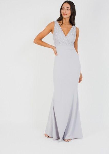 58dcbb28a7 WalG Deep V Grey Lace Maxi Bridesmaid Dress Silver