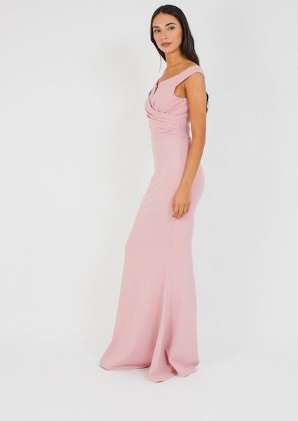 579ec7c4dc8e WalG Off Shoulder Grey Maxi Bridesmaid Dress Pink Blush. WalG Off Shoulder  Grey Maxi Bridesmaid Dress Pink Blush