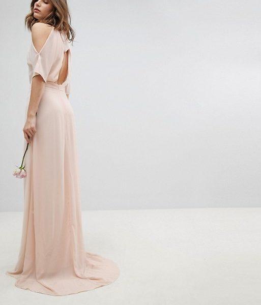 49b733f0b1b0 TFNC High Neck Maxi Bridesmaid Dress With Fishtail, Pale Pink/Blush ...
