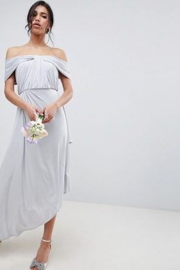 ASOS DESIGN Bridesmaid Ruched Knot Front Maxi Dress Ice Grey Silver