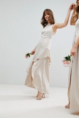 ASOS DESIGN Bridesmaid satin ruffle hem pinny bodice maxi dress Pale Pink Blush