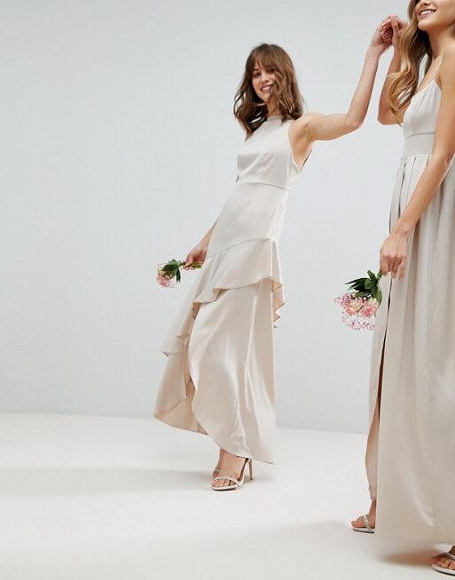 ASOS DESIGN Bridesmaid satin ruffle hem pinny bodice maxi dress Pale Pink Blush