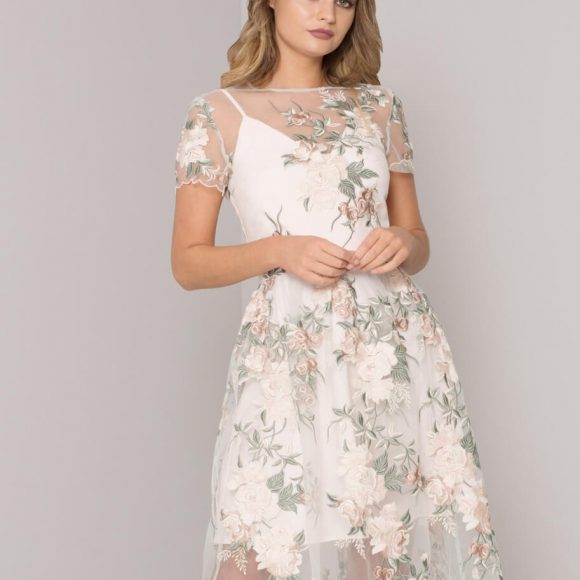Chi Chi Bryanna Floral Embroidered Dress Ivory Multi