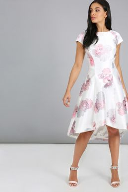 Chi Chi Edith Floral Print Dress Ivory Pink