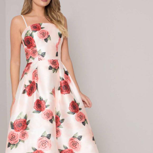 Chi Chi Maxime Floral Print Dress Cream Multi