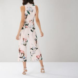 Coast Campbell Floral Print Scuba Jumpsuit Pink Multi