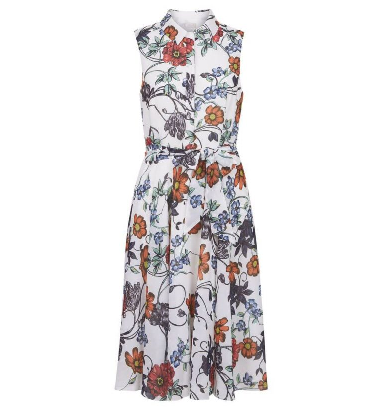 Hobbs Belinda Floral Print Dress White Multi