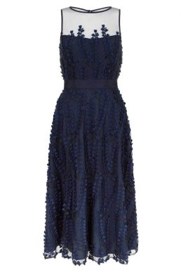 Hobbs Felicity Applique Short Dress Navy