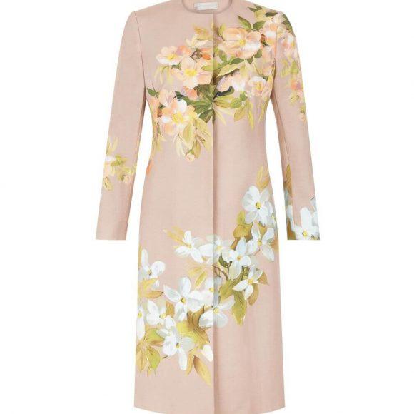Hobbs Francine Floral Coat Beige Multi