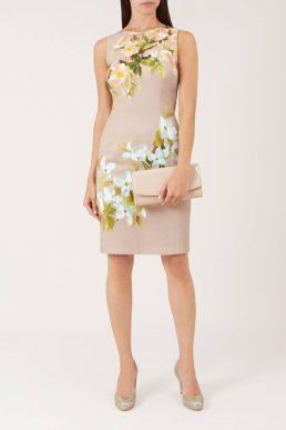 Hobbs Francine Floral Dress Nude Ivory