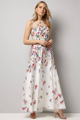 Phase Eight Anastacia Embroidered Maxi Dress White Multi