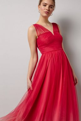 Phase Eight Aya Tulle Dip Dyed Maxi Dress Pink Coral