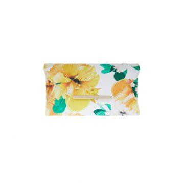 printed kierra floral clutch bag white orange