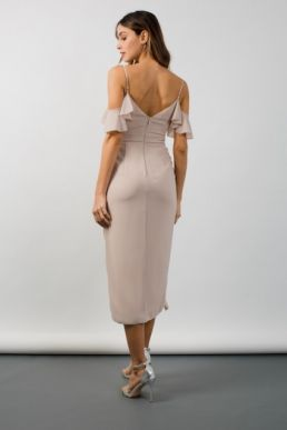 TFNC Elsa Wrap Midi Taupe Dress Nude Neutral