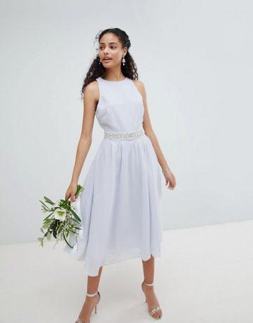 TFNC Embellished Midi Bridesmaid Dress with Full Skirt Baby Blue