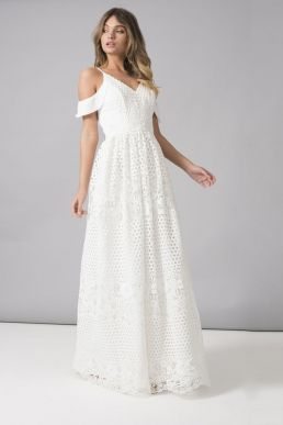 Chi Chi Ebba Lace Cold Shoulder Maxi Dress White
