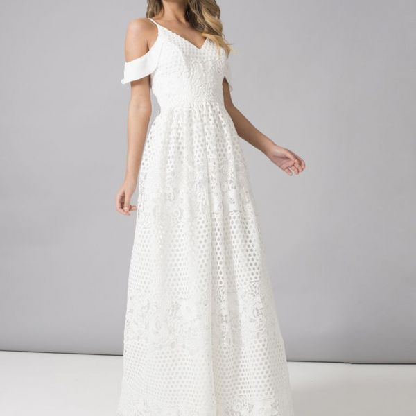 Chi Chi Ebba Lace Cold Shoulder Maxi Dress White