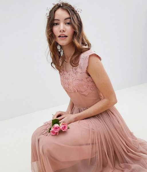 release date: united states amazing selection ASOS DESIGN Bridesmaid Embroidered Midi Dress, Rose Pink