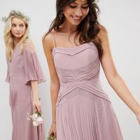 ASOS DESIGN Bridesmaid Pleated Panelled Cami Maxi Dress With Lace Inserts Dusty Pink
