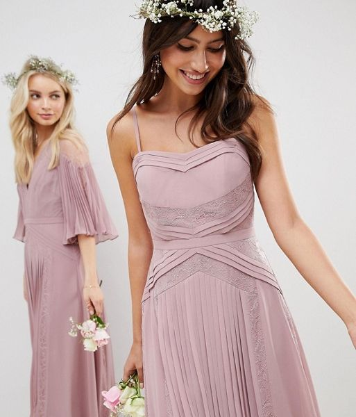 on feet images of shop for best hot-selling latest ASOS DESIGN Bridesmaid Maxi Dress, Dusty Pink/Lilac