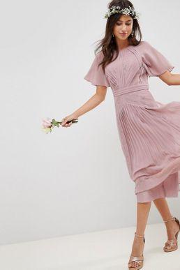 ASOS DESIGN Bridesmaid Pleated Midi Lace Dress Pink