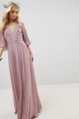 ASOS DESIGN Bridesmaid Lace pleated sleeve maxi dress Pink