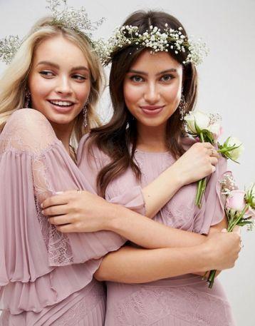 ASOS DESIGN Bridesmaid Lace pleated sleeve maxi dress Pink