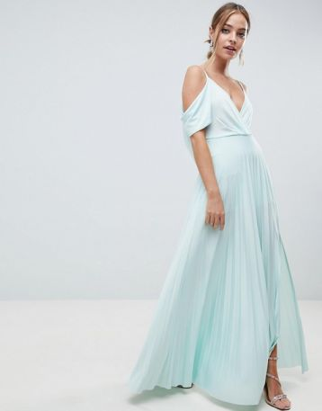 ASOS DESIGN Cold Shoulder Cowl Pleated Maxi Dress Mint