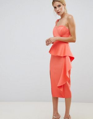 ASOS DESIGN Scuba One Shoulder midi Bodycon Dress Orange
